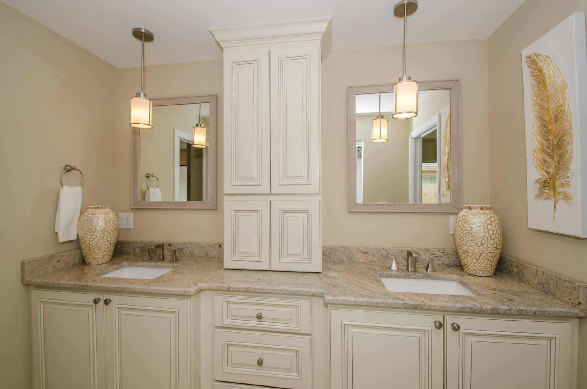 Bath remodel featuring bath cabinetry