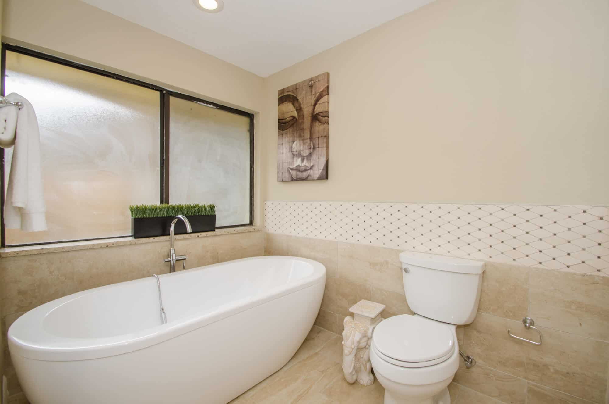 Bath remodel featuring free standing tub