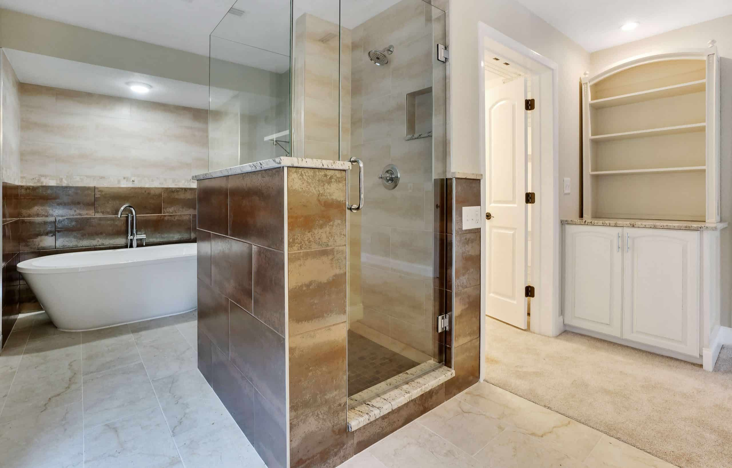 Bath remodeling with shower feature