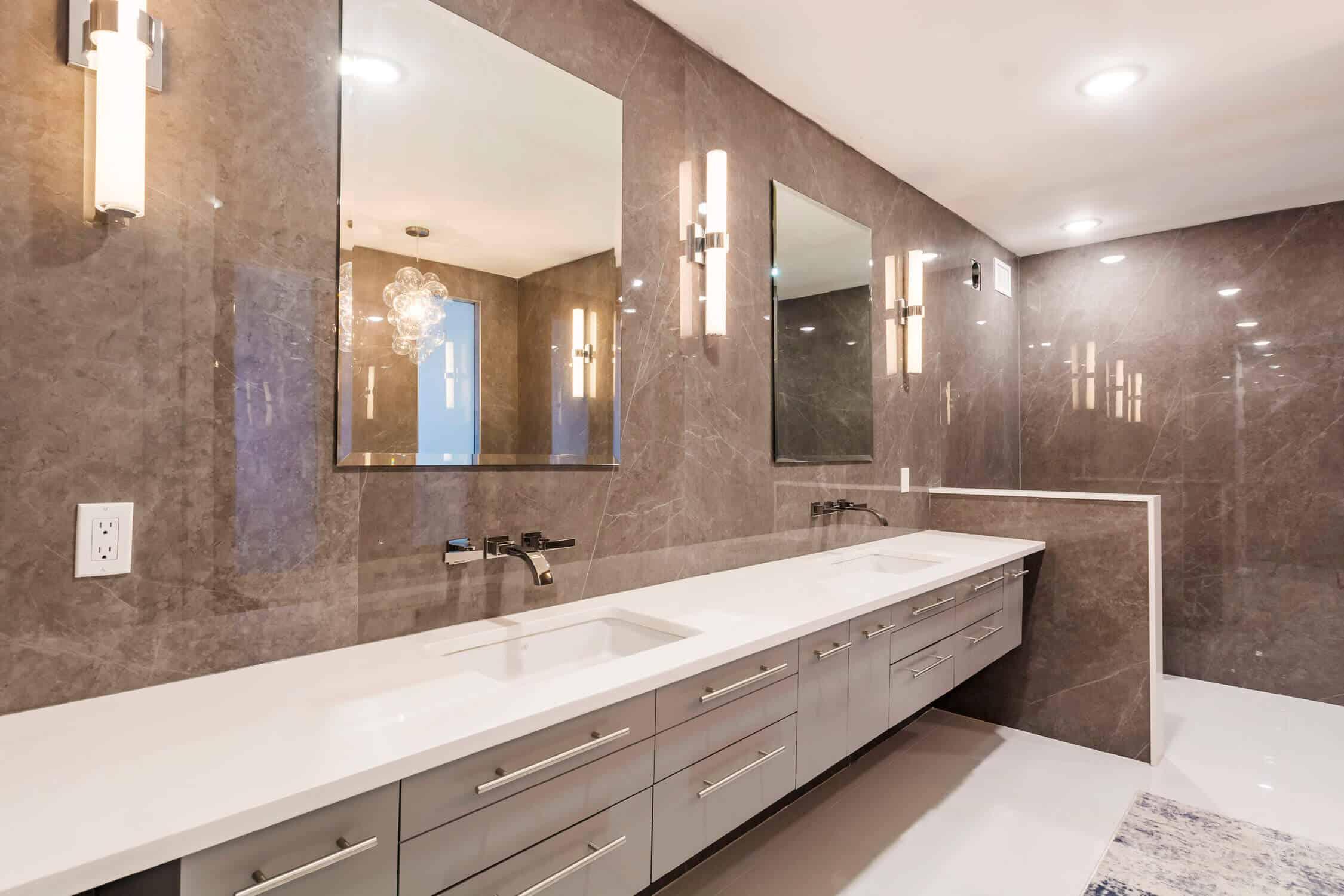 bathroom with long wash area
