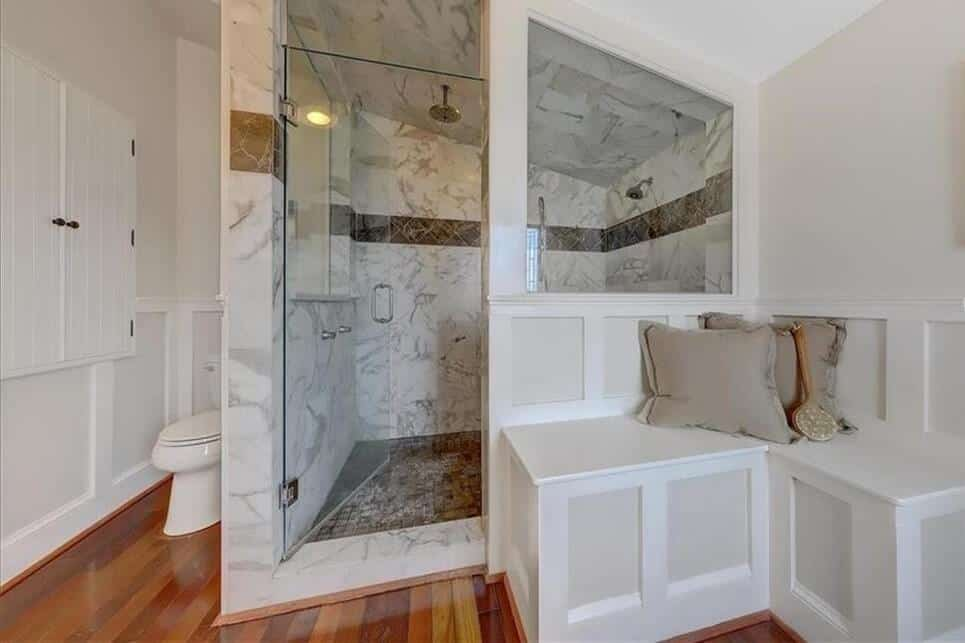 bath remodel featuring marble