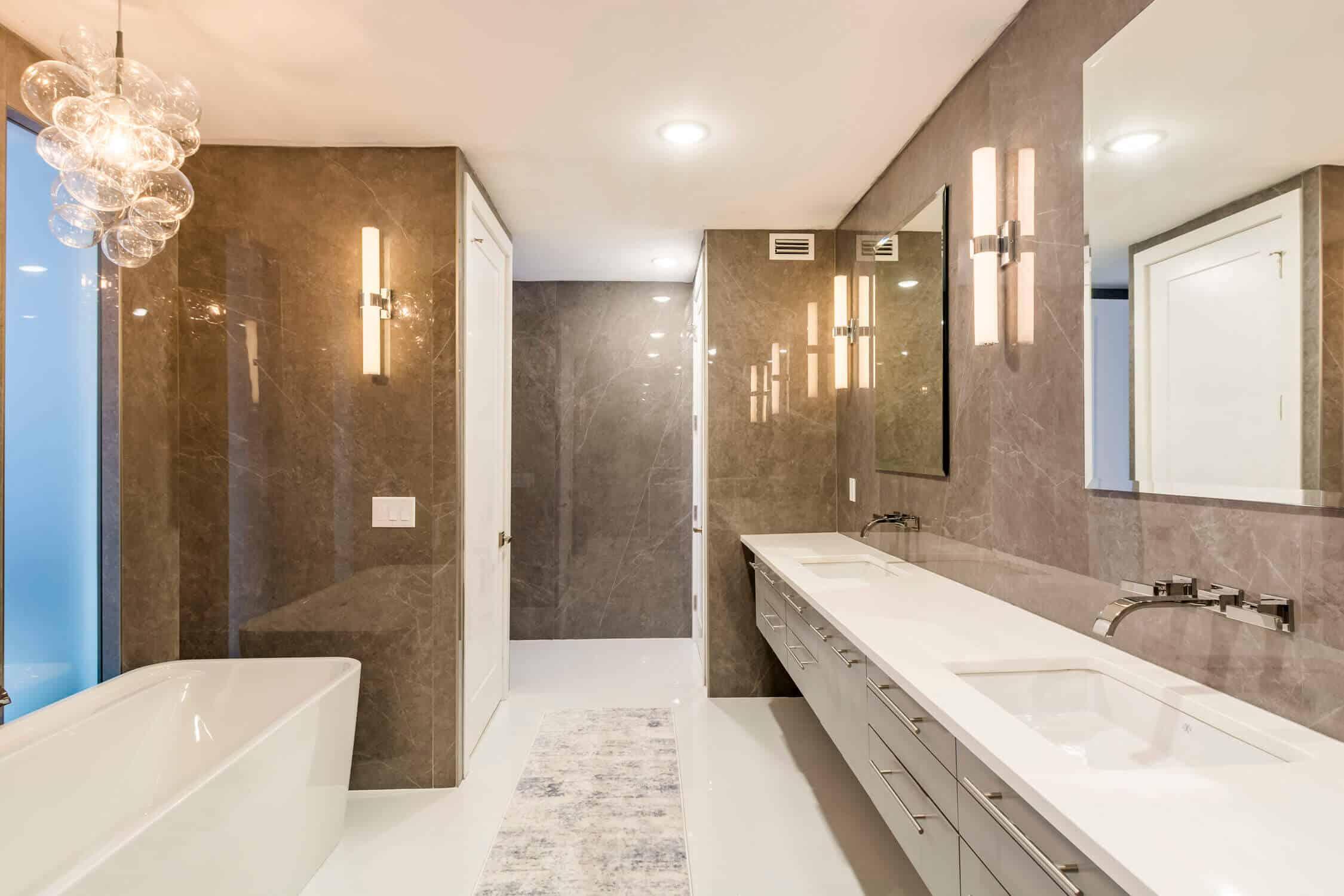sleek and sophisticated bathroom remodel