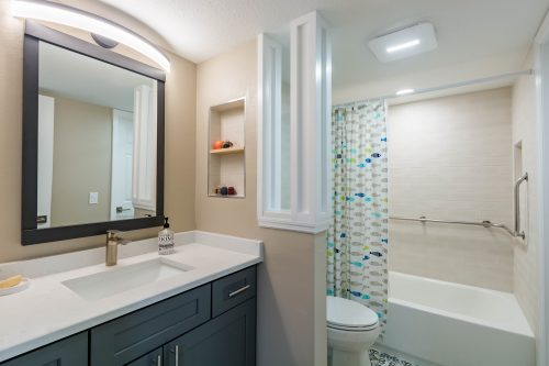 condo remodeling with new bathroom and accessible bathtub