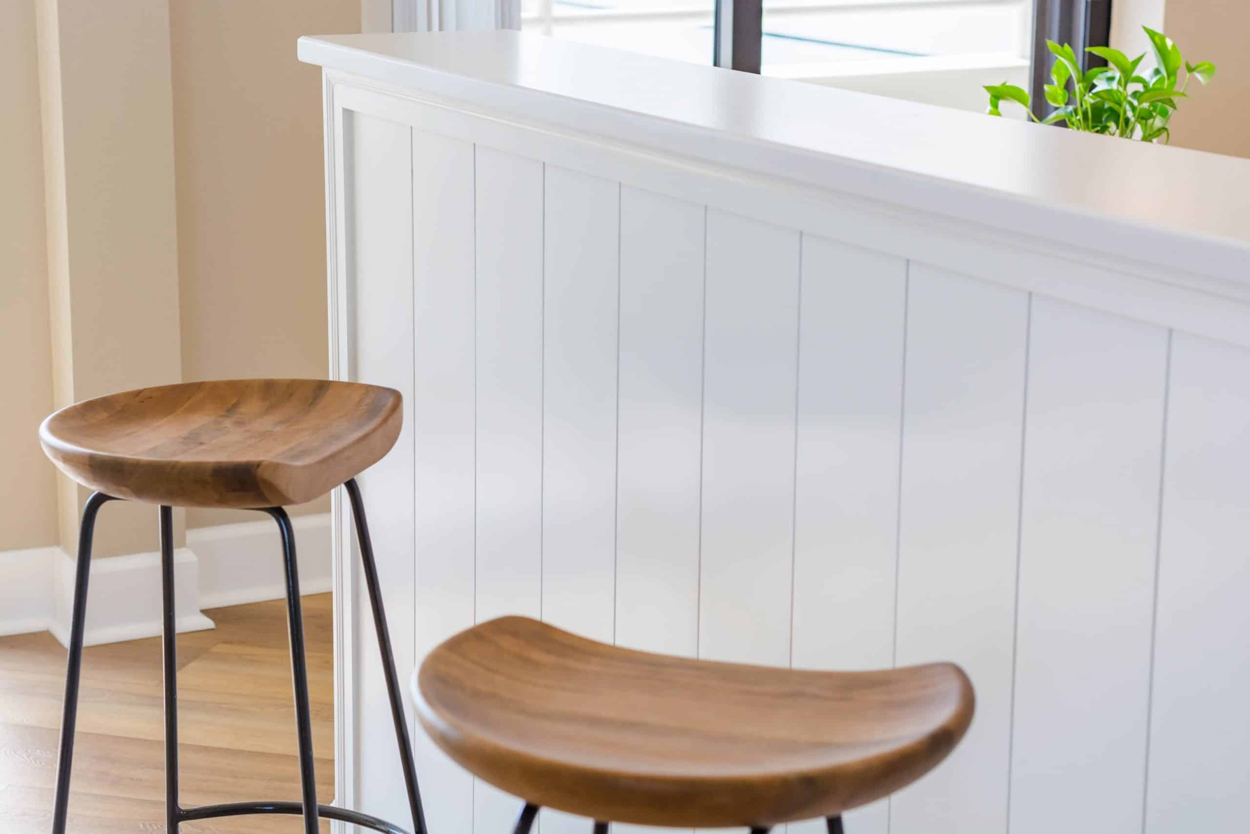 close up of stools in kitchen remodeling in Pelican Beach