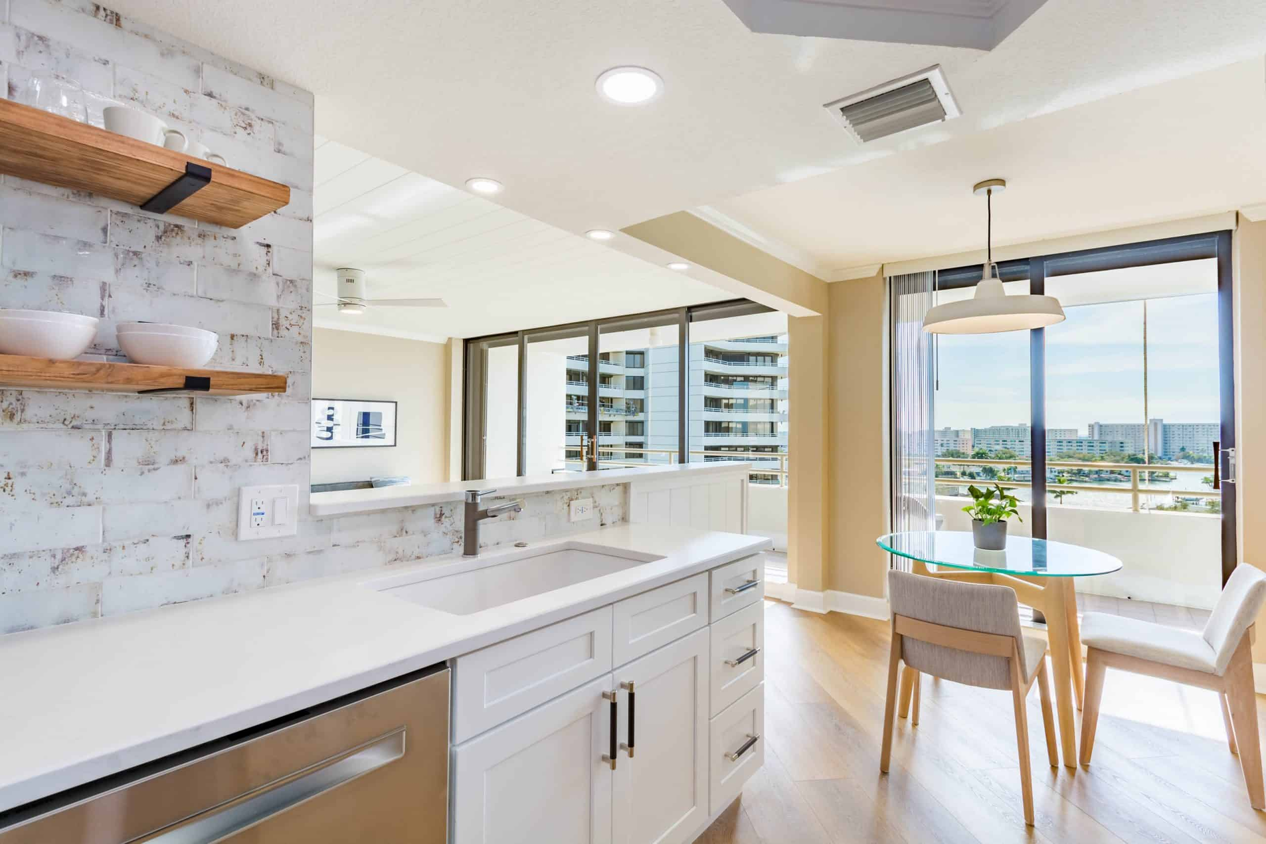large windows on kitchen remodeling in Pelican Beach